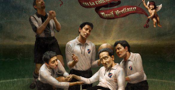 """""""La vida en la cancha"""", pintura de Óscar Ramos para el colectivo """"Campeones de Estampa"""" ©"""